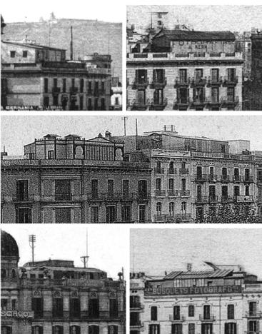 Estudis a Plaça Catalunya i Ronda Universitat, 1900-1910.