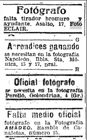 Selecció d'anuncis de premsa, 1900-1910.