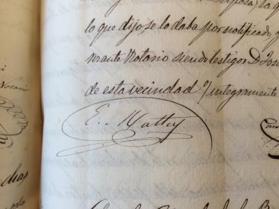 Signatura d'E. Mattey, 1858. Arxiu Històric de Protocols de Barcelona.
